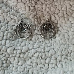 Premier Designs Silver Spiral Dangle Earrings